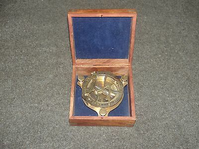 Brass Ship Compass In Wooden Box