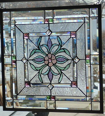 Stained Glass Window Hanging 23 1/8 X 23 1/8""