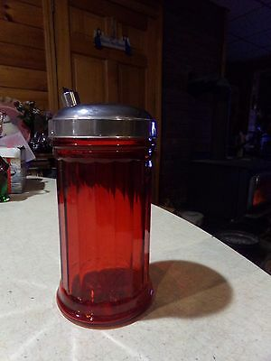 Stoha Red Flashed Glass Sugar Dispenser Shaker With Metal Top Germany