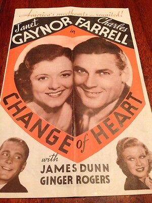 Change Of Heart,Janet Gaynor In Charles Farrell & James Dunn,Ginger Rogers