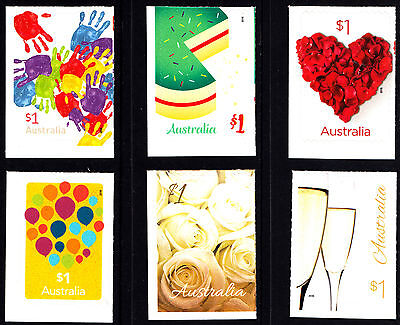 Australia 2016 Love To Celebrate Complete Set Of Stamps S/A Ex Booklet MNH