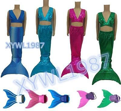 Kids Girls 3PCS Mermaid Set Top+Underpants+tails Swimmable Costume Swimsuit 4-12