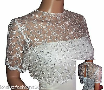 Womens Ivory or White  short sleeve Lace Bridal Bolero/Shrug Size 8 to 18
