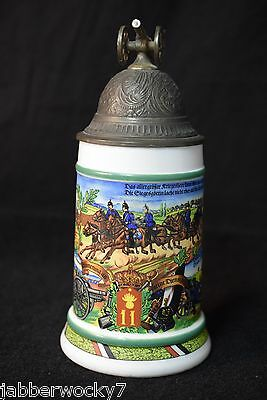 VINTAGE GERMAN BMF MILITARY REGIMENTAL ARTILLERY BEER LIDDED STEIN with CANNON