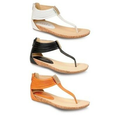 Ladies Diamante Textured Small Wedge Women's Thong Fashion Sandals Shoes