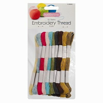 20 Skeins Assorted Colours Embroidery Thread Cross Stitch/Braiding/Craft Sewing