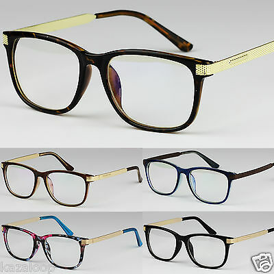 Unisex Clear Lens Square Square Glasses Metal Temples