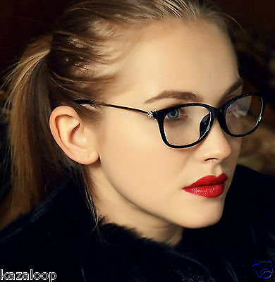 Womens Square Oval Clear Lens Glasses Metal Temples