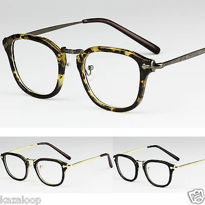 Unisex Clear Lens Mens Womens Square Rectangle Glasses Vintage Engraved Temples