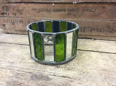 "NICE vintage Leaded stained glass 6"" X 4"" Bowl-RETRO-AWESOME DECOR-5"