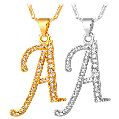 Initial Alphabet Letter A-Z Pendant Necklace Gold Plated Cubic Zirconia Jewelry