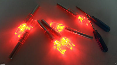 6X Red Automatically Led Lighted luminous tail Arrow Nocks with 2X Screwdrive