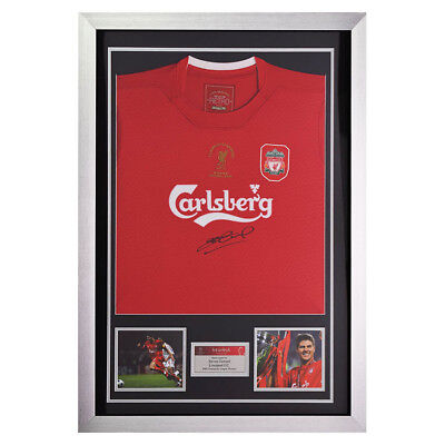 Signed Steven Gerrard Liverpool FC Shirt In 2005 Champions League Display