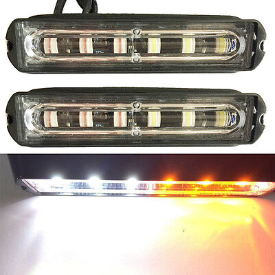 2x White Amber Truck Trailer ATV Emergency 6 LED Light Bar Hazard Strobe Warning