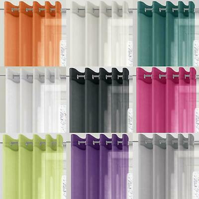 Plain Voile Curtain Panel Eyelet Ring Top Panels All Colours All Sizes