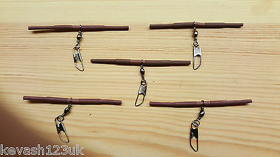 5 x Loaded Pellet Waggler Big Float Adapters.(Brown) + Free Gift.