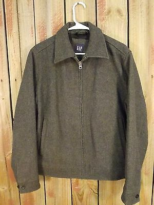 Gap Wool Coat Jacket Full Zip Gray Quilted Lining Men's Size Small Very Nice