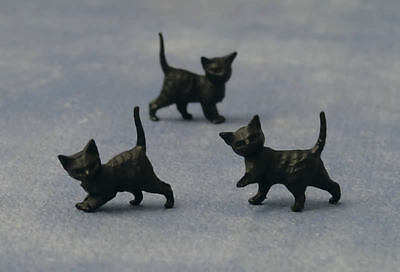 Three Black Kittens, Doll House Miniature. 1.12th Scale, Cats Pets Animals