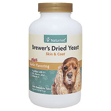 NaturVet BREWERS DRIED YEAST With Garlic Omega 3  6 Dogs  Cats 500 Tablets