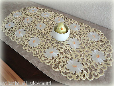 Dresser Scarf Table Runner Daisy  BUTTER YELLOW for SPRING  Doily Easter
