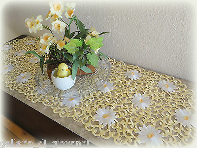 "Dresser Scarf Table Runner 33"" Daisy  BUTTER YELLOW for SPRING  Doily Easter"