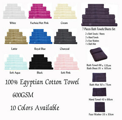 600GSM Egyptian Cotton Towel - Bath Towel Hand Towel Face Washer Bath Mat Or Set