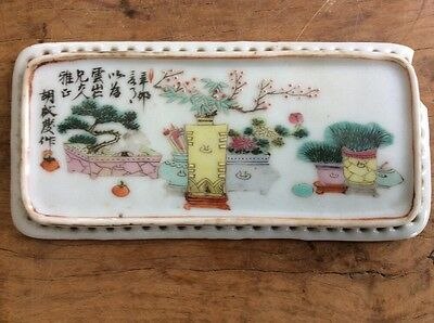 Well Painted Well Signed Small Antique Chinese Tile Panel