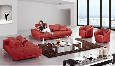 4 PC MODERN Red Leather Sofa Loveseat Chairs Adjustable ...