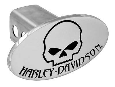 Harley-Davidson Chrome Engraved Oval Willie G Skull Hitch Cover, 2 inch HDHC180