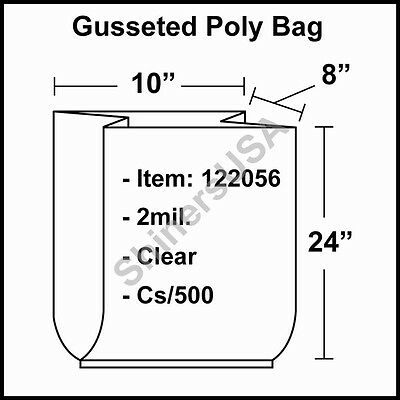 2 mil Gusseted Poly Bag 10x8x24 Clear FDA Approved  cs/500 (122056)