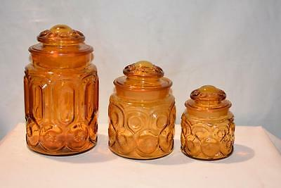 Lot 3 Antique Vintage Depression Amber Glass Canister Cookie Jar Kitchen Vintage