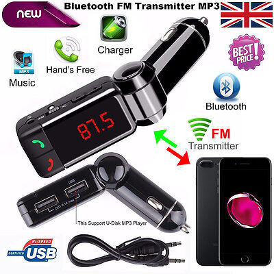 LCD Bluetooth Car Kit MP3 FM Transmitter USB Charger Handsfree for iPhone 7 Plus