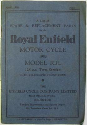 ROYAL ENFIELD R.E Two Stroke 125cc - Motorcycle Parts List - 1950 -#RE/10M/4/50