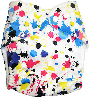 Modern Cloth Reusable Washable Baby Nappy Diaper & Insert, Minky Paint Splater
