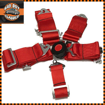 Seat Belt 5 Point Racing Harness Kit Quick Release Track / Race / Drift Car RED
