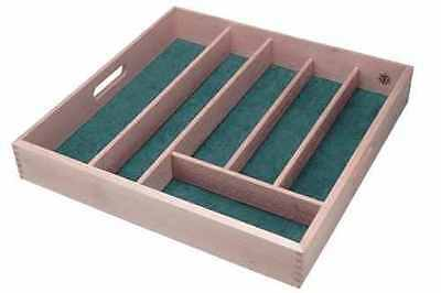 6 Compartment Wooden Lined Cutlery Tray Drawer Organiser Storage Baize Kitchen