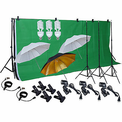 Photo Studio Photography Kit 3 Light umbrella muslin Backdrop Stand clamp Screen