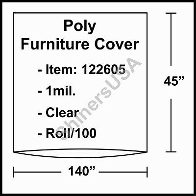 """1 mil Poly Furniture Covers 140""""x45"""" Clear - Roll/100 (122605)"""