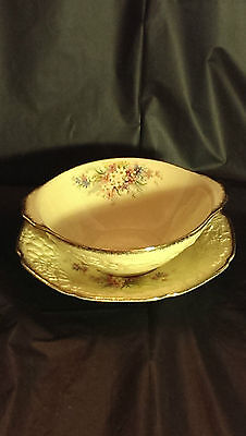 RARE Crown Ducal Picardy Florentine Embossed Cream Soup Cup & Saucer Two Handle