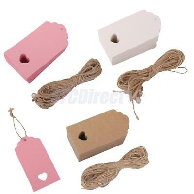 100 Kraft Paper Tags Gift Price Craft Card Name DIY Tags Wedding Favor w/String