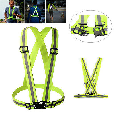 Unisex Safety Reflective Cycling Yellow Fluro Bike Visability Crossover Vest Top