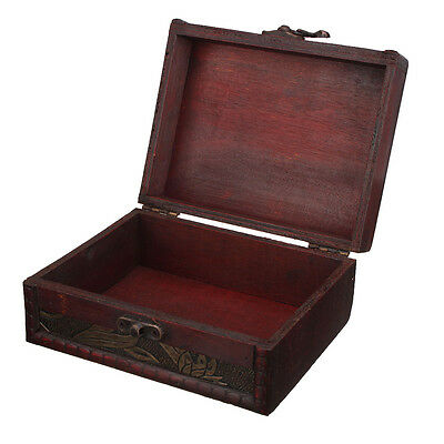Large Retro Wooden Storage Necklace Bracelet Jewelry Box Gift Case Lock Holder
