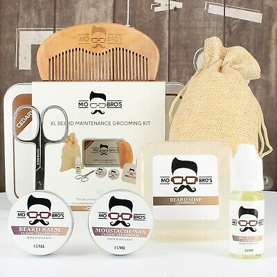 Mo Bro's XL Cedarwood Grooming Kit Beard Oil, Balm, Wax, Soap, Scissors, Comb