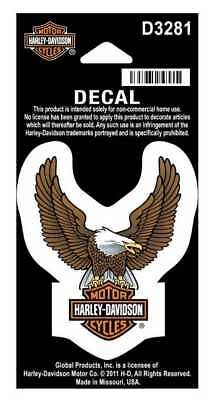 Harley-Davidson Up Wing Eagle Decal Brown XS Size Sticker D3281