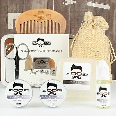 Mo Bro's XL Unscented Grooming Kit Beard Oil, Balm, Wax, Soap, Comb, Scissors