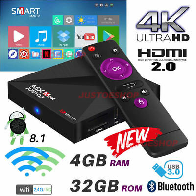 2018 A5X MAX 4GB+32GB Android 7.1 Nougat TV Box 2.4/5Ghz WIFI 4K HD Media Player