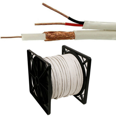 New 1000FT SIAMESE WHITE CABLE  RG59 RG59U VIDEO POWER SECURITY CAMERA WIRE CCTV