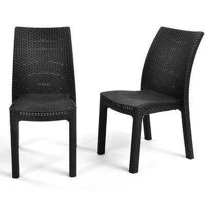 Keter Toscana Dining Chairs (Set of 2) Rattan Dark Brown Stackable Free Delivery