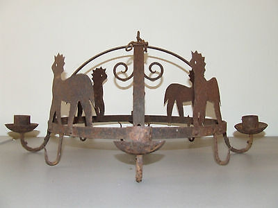 Antique 19th C. Rustic Hand Forged Cast Iron Country Kitchen Ceiling Chandelier