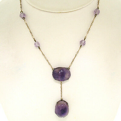 Antique 10k Yellow Gold and Silver Carved Amethyst Dangle Necklace GORGEOUS
